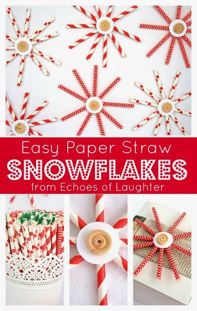 Easy Paper Straw Snowflakes from Echoes of Laughter