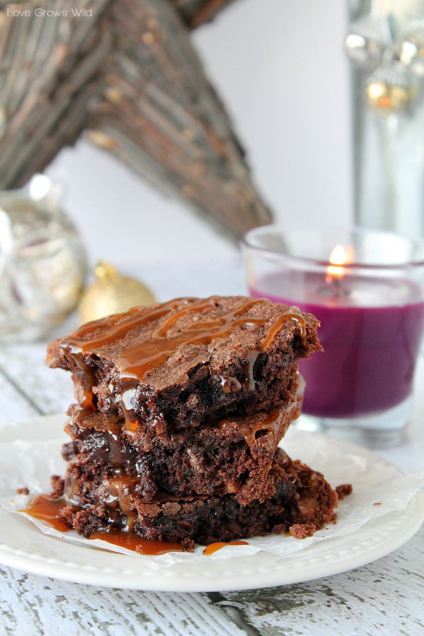 Fudgy Pecan Brownies Recipe with Salted Caramel Sauce