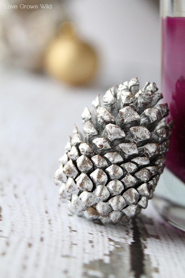 Metallic Pinecone Holiday Decor