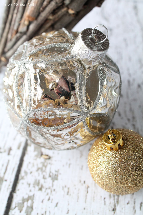 Silver and Gold Glitter Ornaments for Holiday Decorating