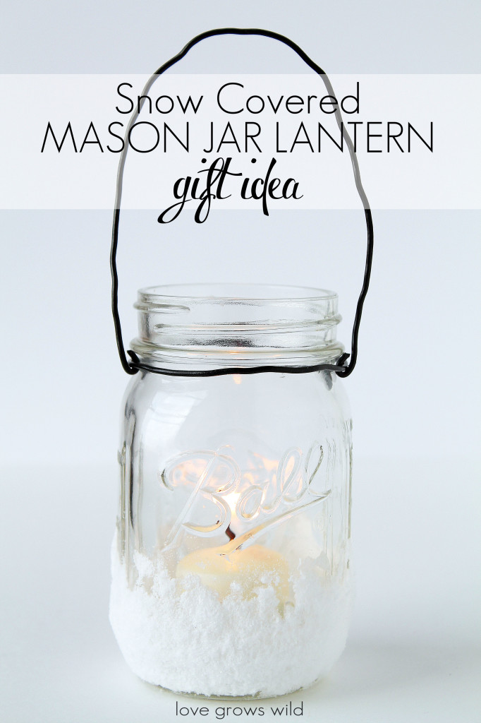 Snow-Covered Mason Jar Lantern - a great holiday gift idea!