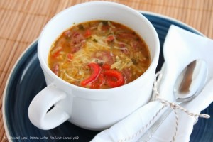 Roasted Red Pepper and Chicken Sausage Orzo Soup Recipe