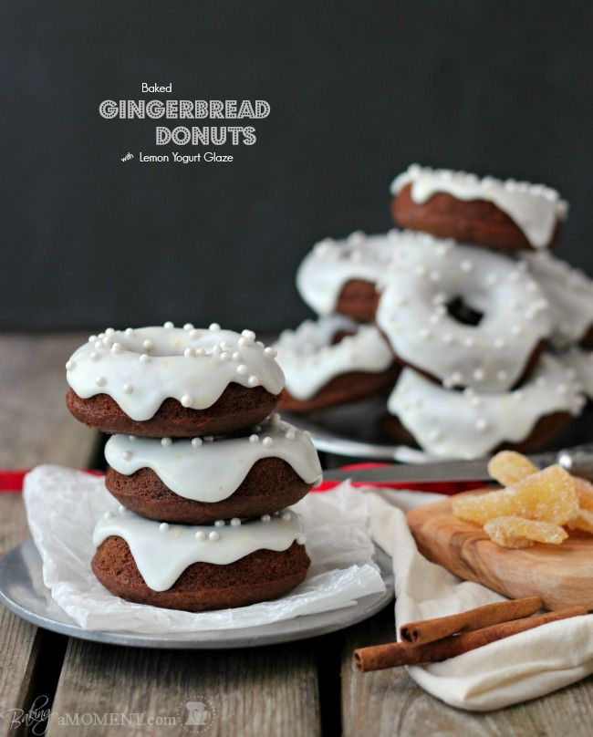 Baked Gingerbread Donuts with Lemon Yogurt Glaze