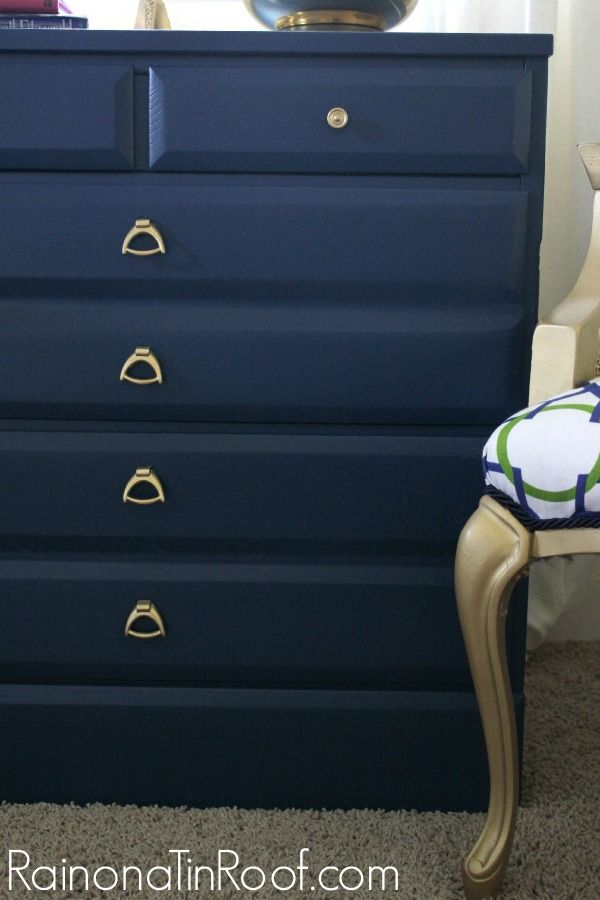 Navy and Gold Dresser Makeover