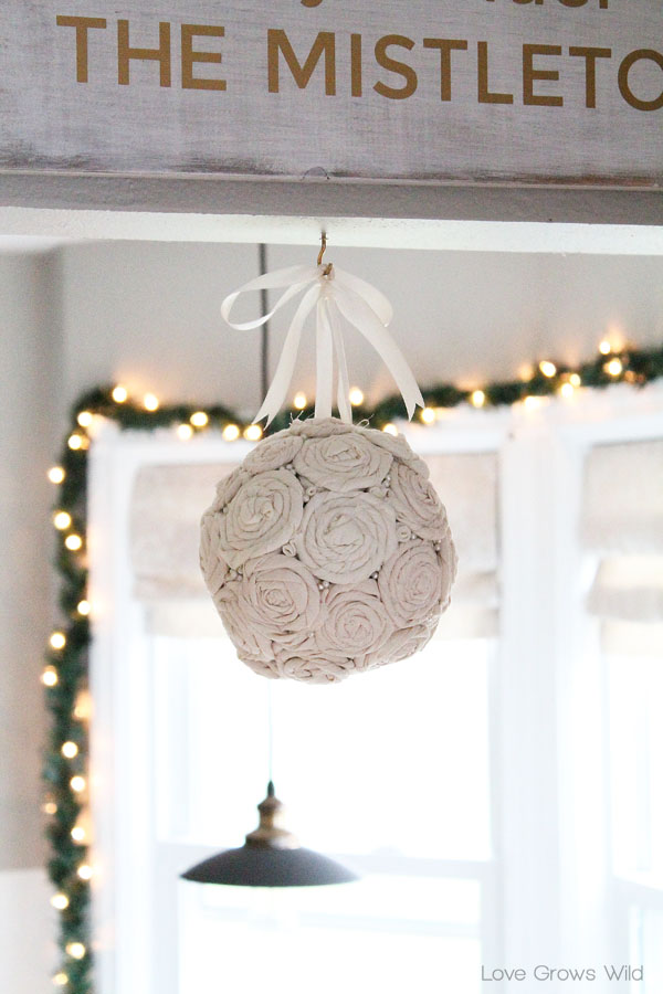 DIY Fabric Rosette Mistletoe Ball