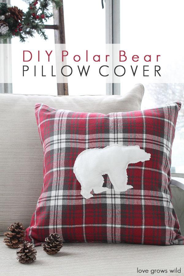 diy polar bear pillow cover - love grows wild Diy Pillow Covers