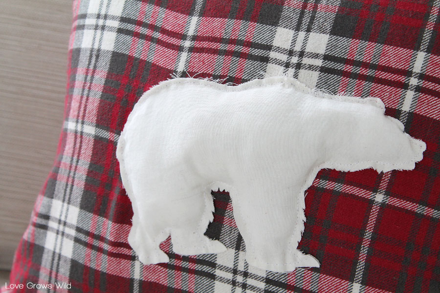 Create a DIY Flannel Polar Bear Pillow Cover to decorate for winter!