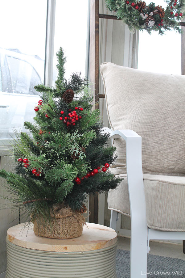 Cut pieces of wood to fit over your planting containers and add a pretty evergreen tree to decorate for winter!