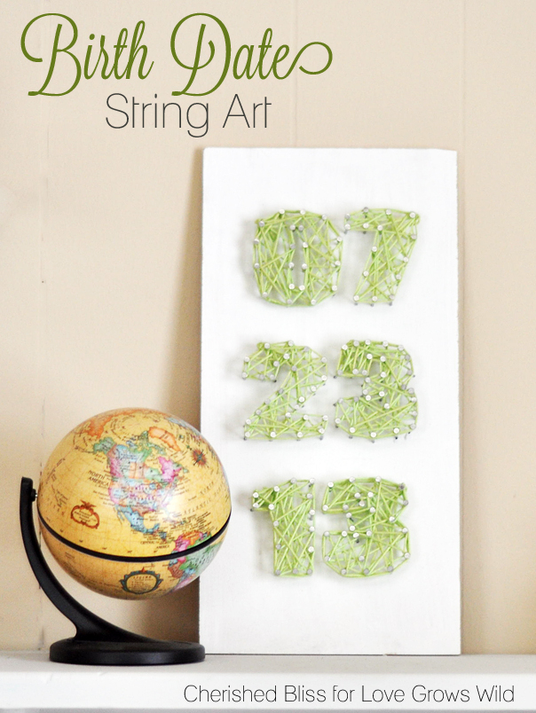 Birth Date String Art - perfect for a nursery! Tutorial at LoveGrowsWild.com