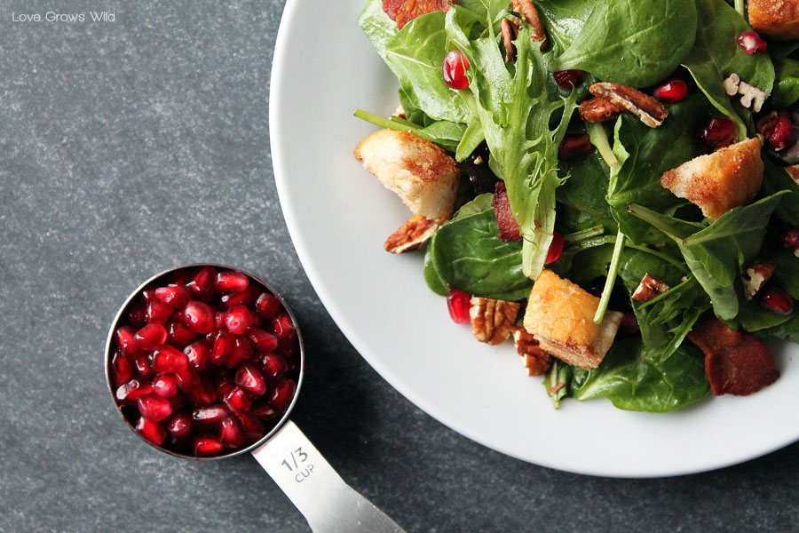 Pomegranate Breakfast Salad with Maple Vinaigrette and Cinnamon Sugar Croutons - What a fun breakfast idea! So many amazing flavors and textures in this unique dish!