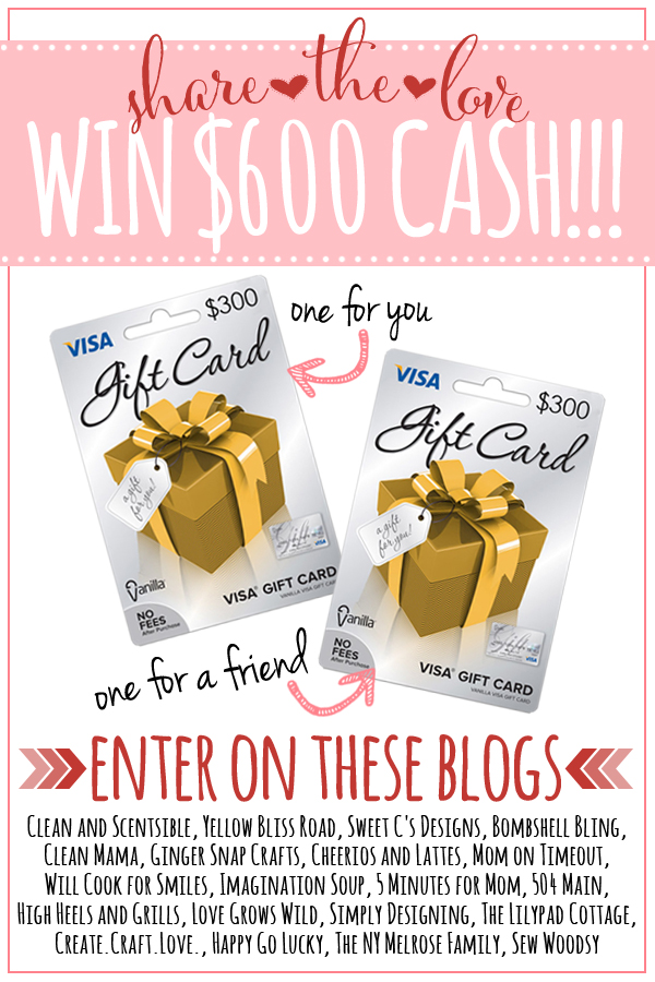 Share the Love $600 Cash Giveaway! Enter at LoveGrowsWild.com