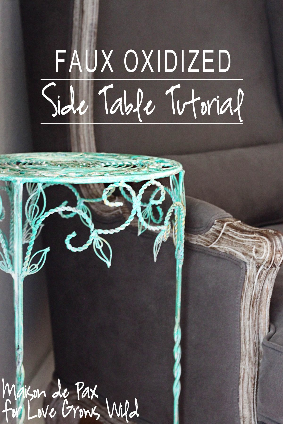 Faux Oxidized Side Table