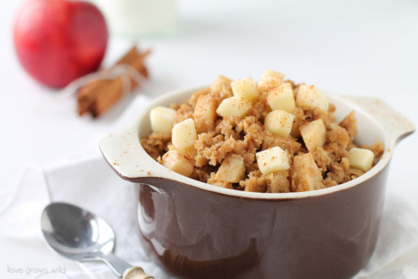 Soft, sweet apples baked into creamy, cinnamon-infused oatmeal is a delicious way to start the morning! | LoveGrowsWild.com