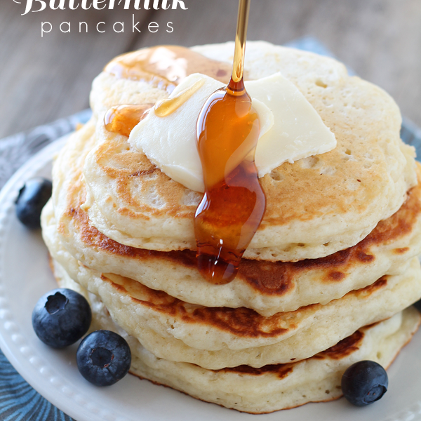 The BEST Buttermilk Pancake recipe! These pancakes are so light, fluffy, and tender! | LoveGrowsWild.com