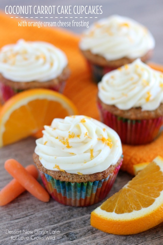 Moist, fluffy Carrot Cake Cupcakes combined with the tropical flavor of coconut, and topped with an Orange Cream Cheese Frosting! You have to try this delicious dessert! | LoveGrowsWild.com