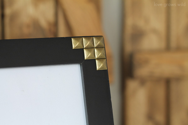 Create this easy Gold Studded Picture Frame! A trendy, high-end look for just dollars!   LoveGrowsWild.com