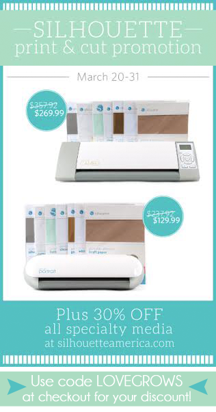 Silhouette Print and Cut Promotion at LoveGrowsWild.com