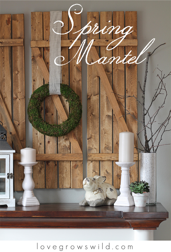 Spring-Inspired Mantel by LoveGrowsWild.com