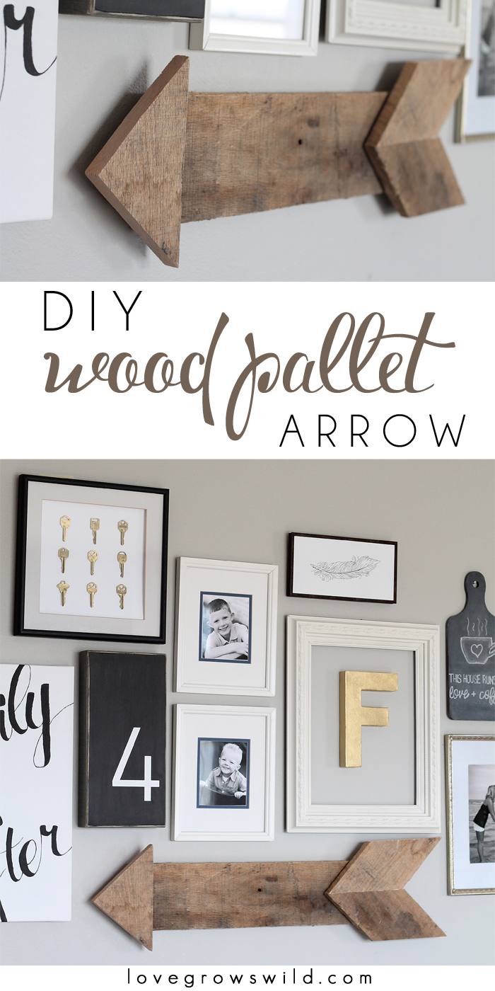 Learn how to create this simple, rustic wood pallet arrow! | LoveGrowsWild.com