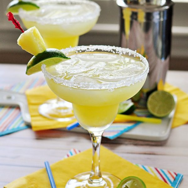 Fresh Pineapple Margaritas made with fresh lime juice and pineapple purée! | LoveGrowsWild.com