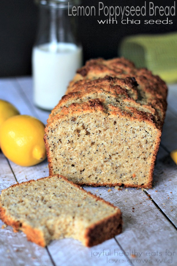 Lemony, moist and naturally sweet Whole Wheat Lemon Poppyseed Bread with chia seeds! | LoveGrowsWild.com