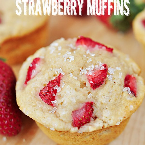 Whole Wheat Strawberry Muffins with juicy little strawberries in every bite!