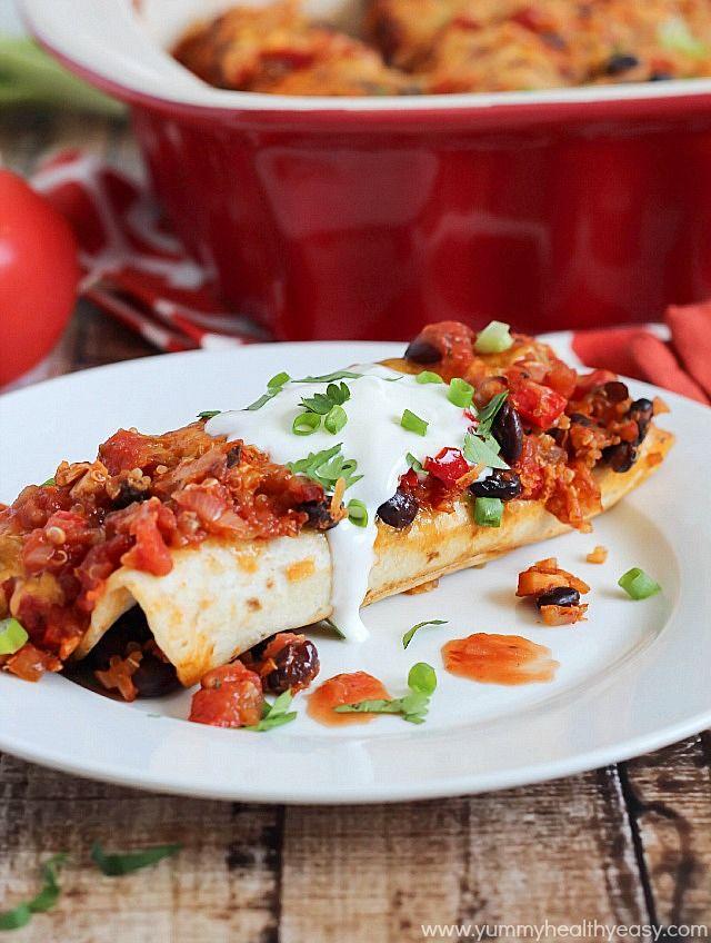 Chicken, Black Bean, and Quinoa Enchiladas