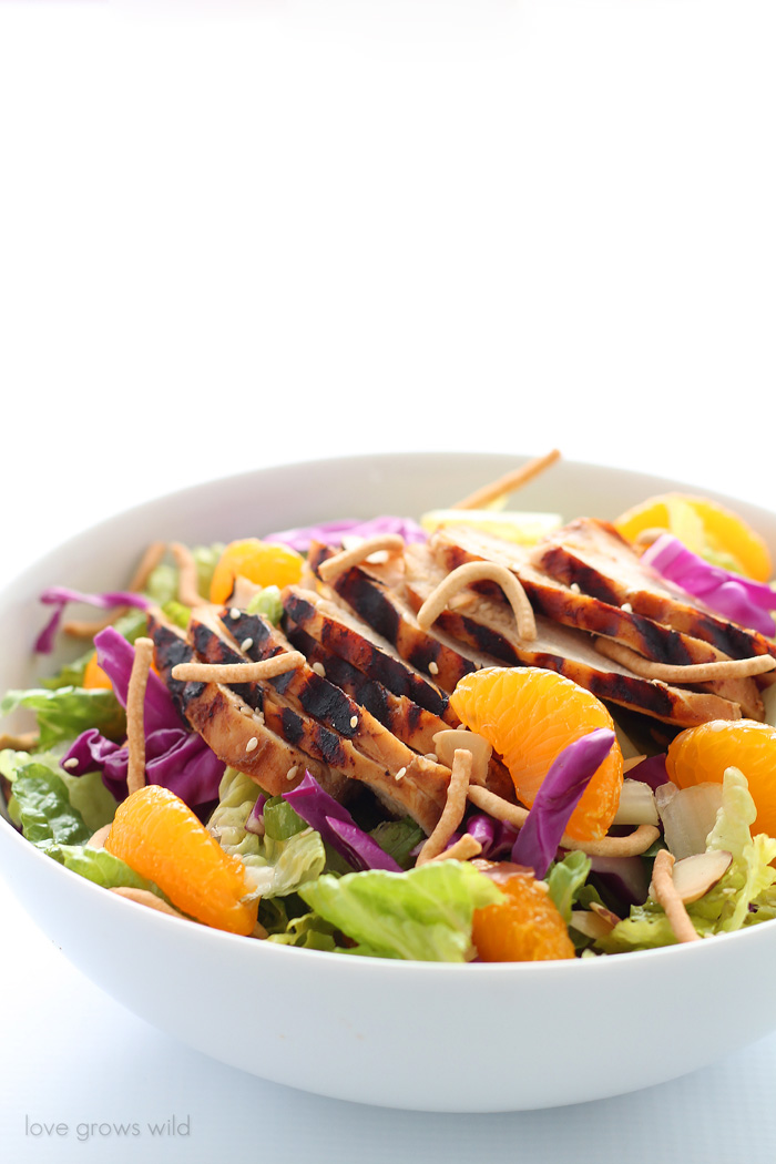 A fresh, flavorful Asian Chicken Salad with tender grilled chicken slices, juicy mandarin oranges, and a delicious sesame dressing!   LoveGrowsWild.com