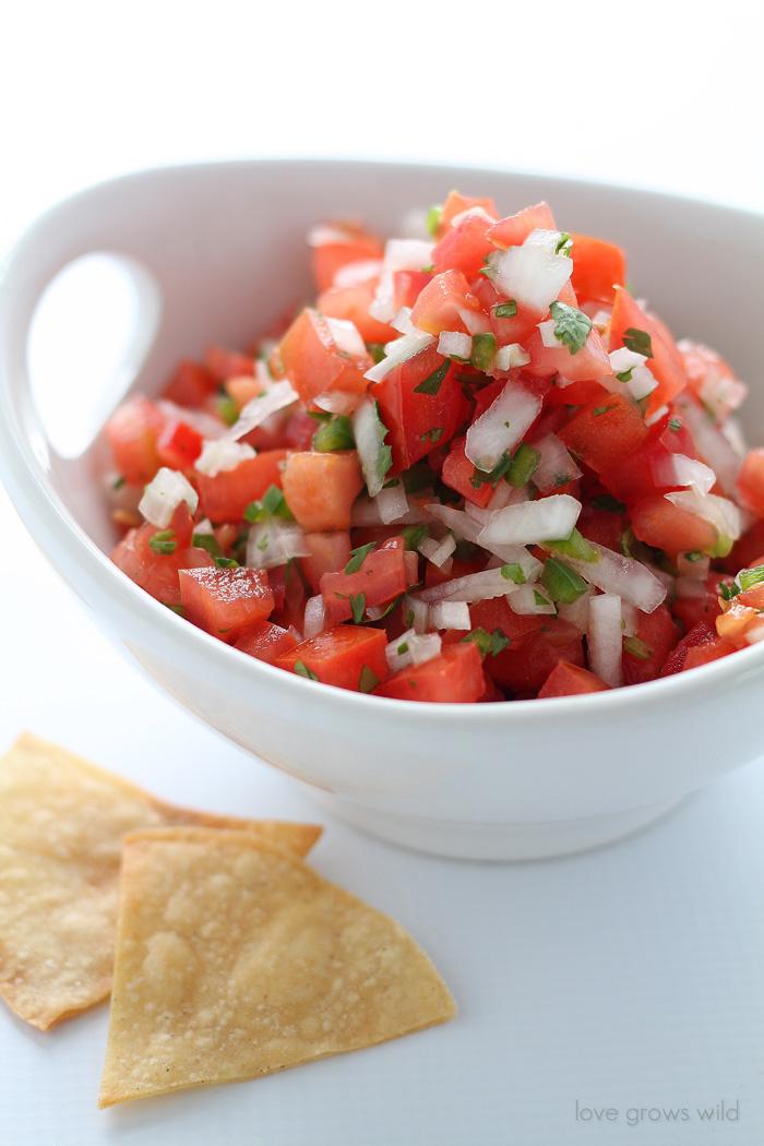 Easy Baked Tortilla Chips and Fresh Pico de Gallo recipe!   LoveGrowsWild.com