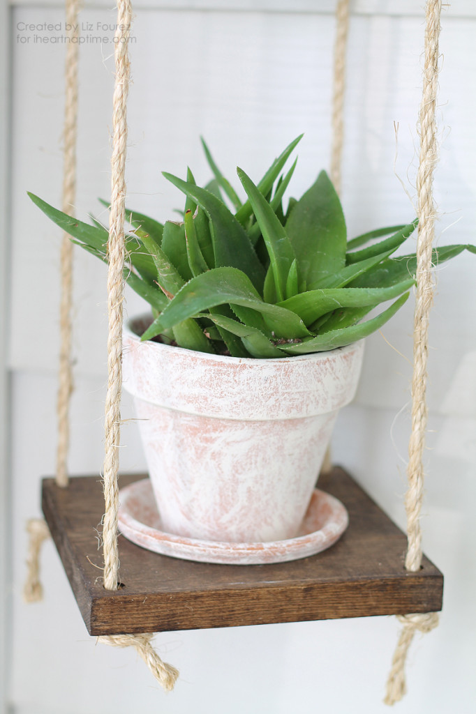 Learn how to create this DIY Vertical Plant Hanger for your home! Perfect for small spaces!   LoveGrowsWild.com