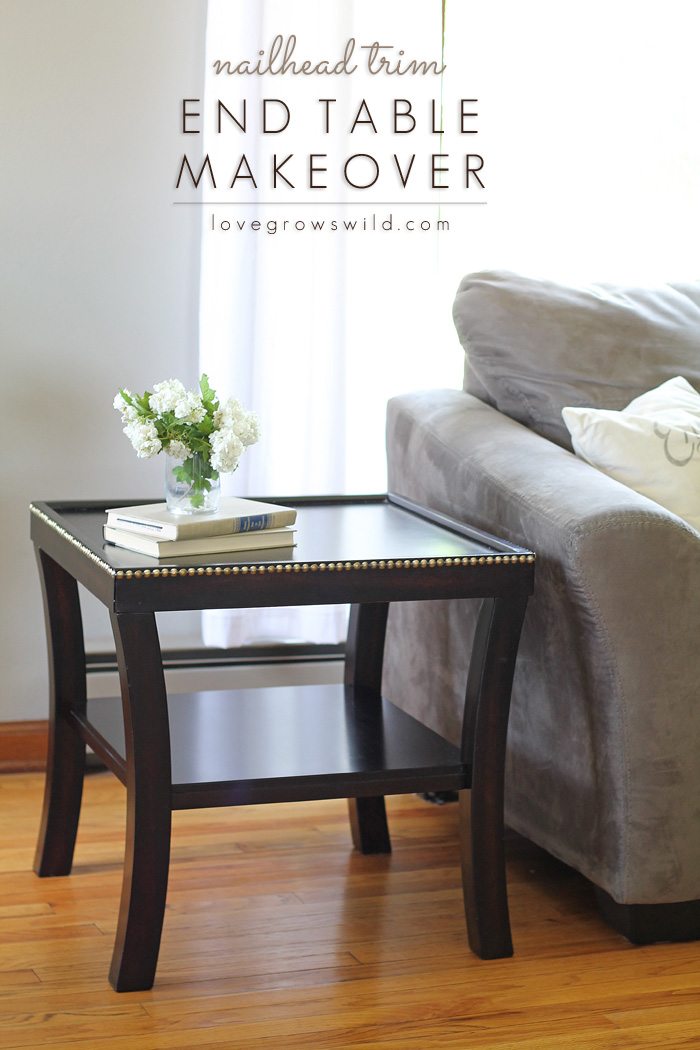 Give your furniture a high-end, custom look with nailhead trim! Come see how easy it is! | LoveGrowsWild.com