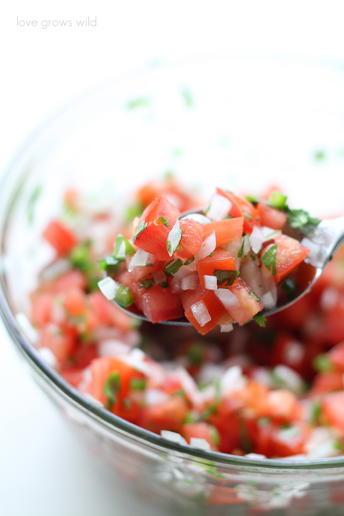 Fresh, easy, and healthy too! This Pico de Gallo recipe is perfect for snacking or as a side with your favorite Mexican dishes! | LoveGrowsWild.com