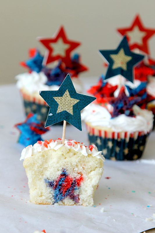 Firecracker Surprise Cupcakes