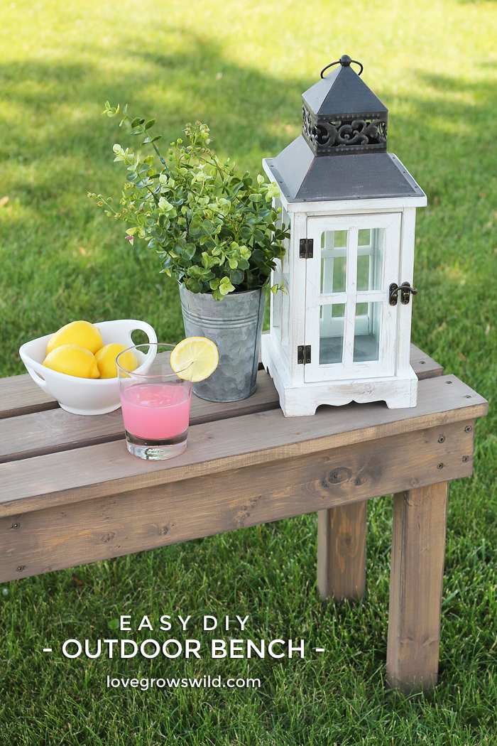 Add extra seating with this beautiful and easy DIY Outdoor Bench! | Tutorial at LoveGrowsWild.com