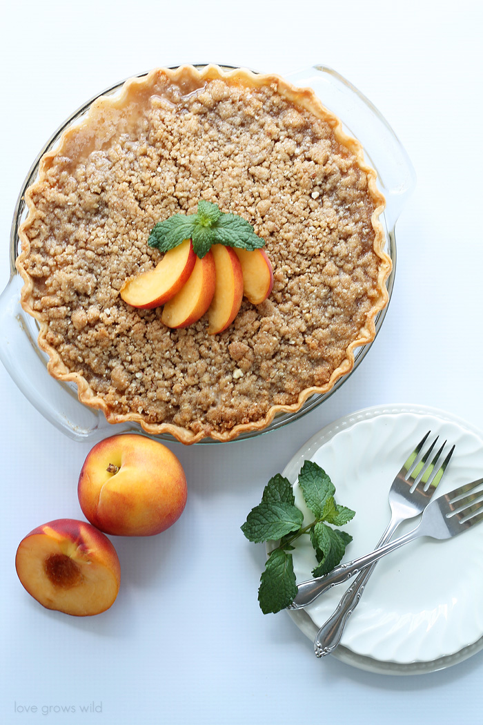 Peach Pie with Almond Crumble - Love Grows Wild