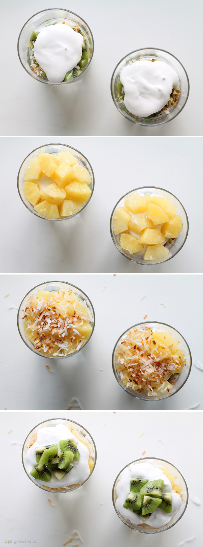 Tropical Coconut Cream Parfaits with fresh fruit and toasted coconut! | LoveGrowsWild.com