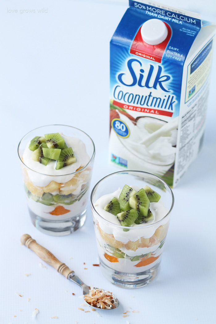 Tropical Coconut Cream Parfaits with fresh fruit and toasted coconut!   LoveGrowsWild.com