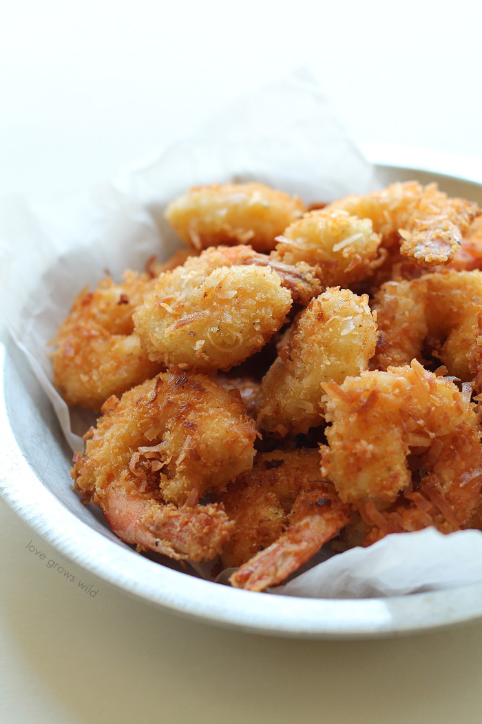 How to make Coconut Shrimp at home! This recipe for crispy coconut shrimp makes a delicious appetizer OR main dish! | LoveGrowsWild.com