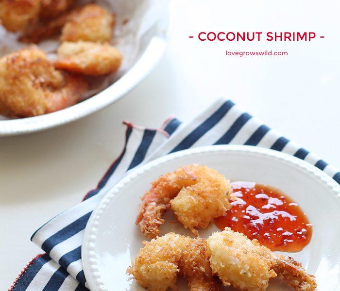 How to make Coconut Shrimp at home! This recipe for crispy coconut shrimp makes a delicious appetizer OR main dish! | LoveGrowsWild.com