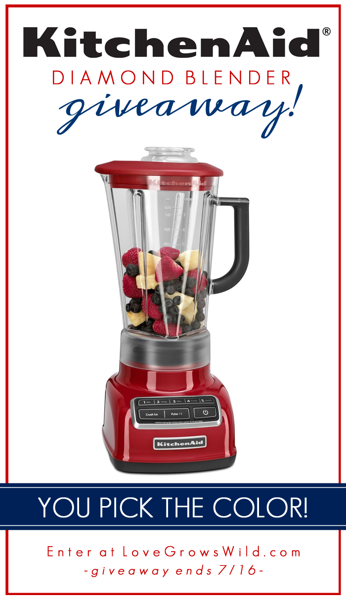Enter to win a KitchenAid Diamond Blender - YOU pick the color! at LoveGrowsWild.com