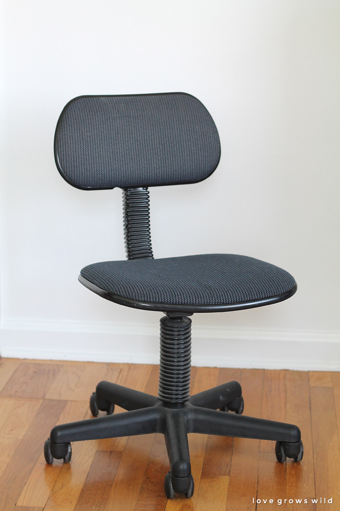 A cheap thrift store find turned into a sleek and stylish new office chair! See the transformation at LoveGrowsWild.com