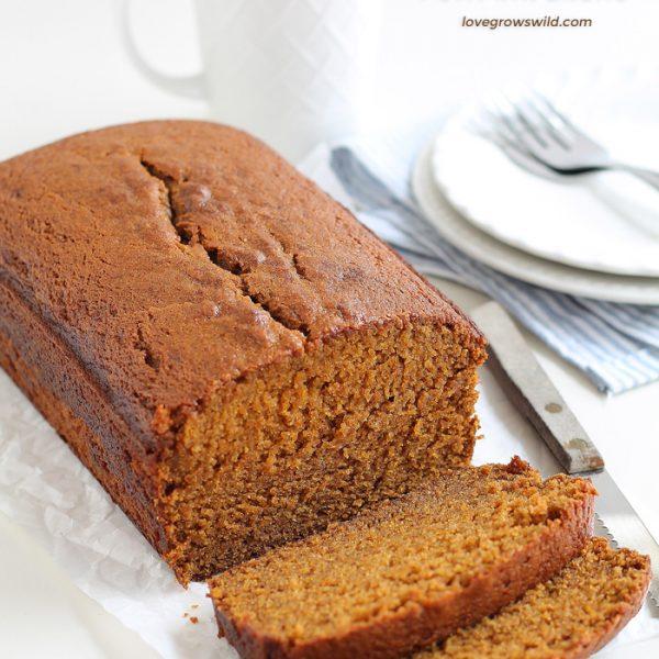 This pumpkin bread recipe will knock your socks off! Moist, sweet, and full of pumpkin flavor!   LoveGrowsWild.com