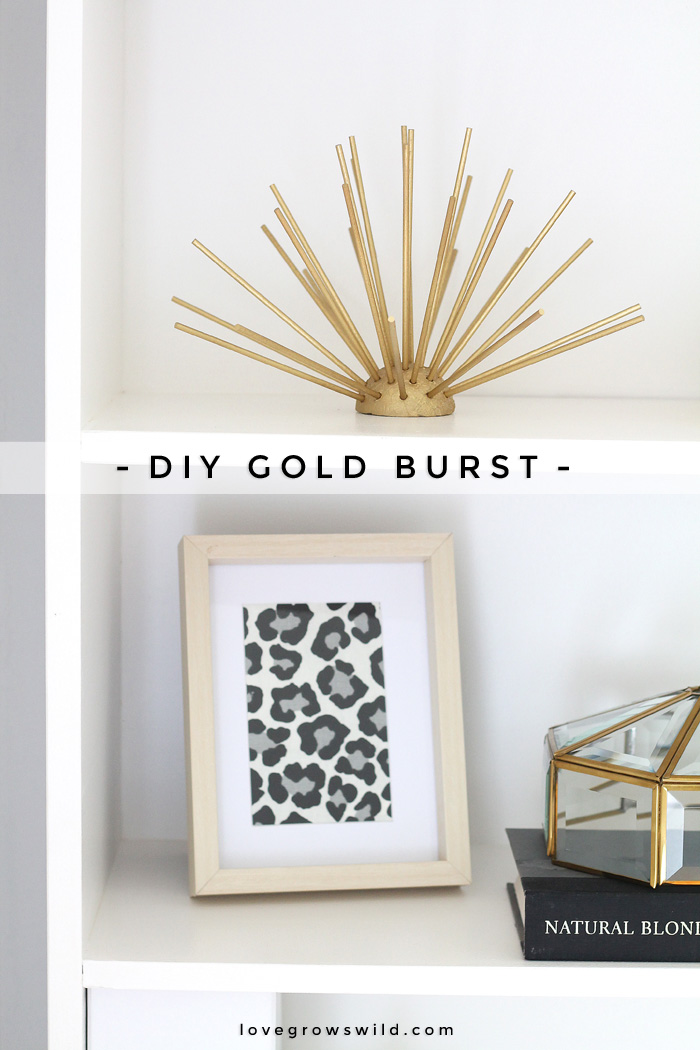 This DIY Gold Burst is easy to make and looks fabulous on a table or bookshelf! Learn how to make this DIY decor at LoveGrowsWild.com