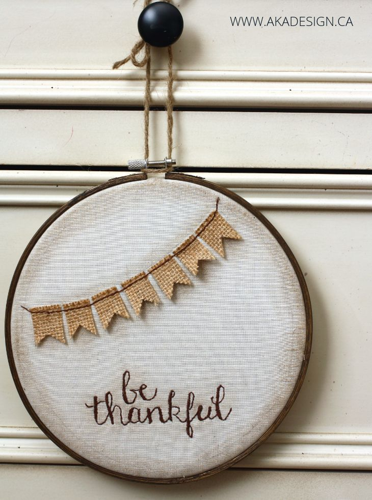 Be Thankful Hoop Art