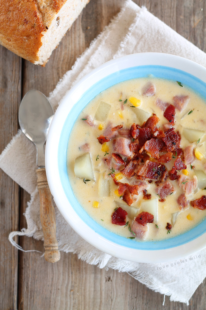 This Ham and Potato Chowder is the perfect comfort food meal! It's warm, hearty, and so satisfying! Get the recipe at LoveGrowsWild.com