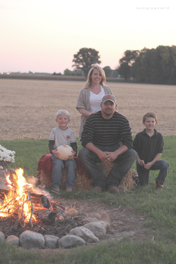 Host a cozy fall bonfire with these decorating tips from LoveGrowsWild.com!