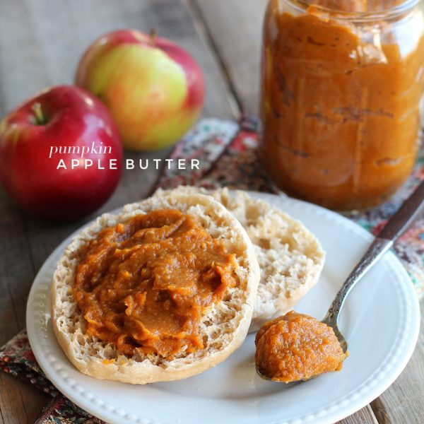 Quick and easy Pumpkin Apple Butter - the perfect sweet spread for toast, biscuits, pancakes, and more! Get the recipe at LoveGrowsWild.com