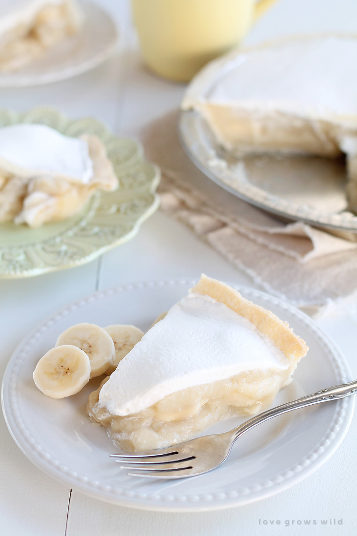 The perfect Banana Cream Pie made from scratch with a light, luscious filling and directions for prepping ahead! | LoveGrowsWild.com