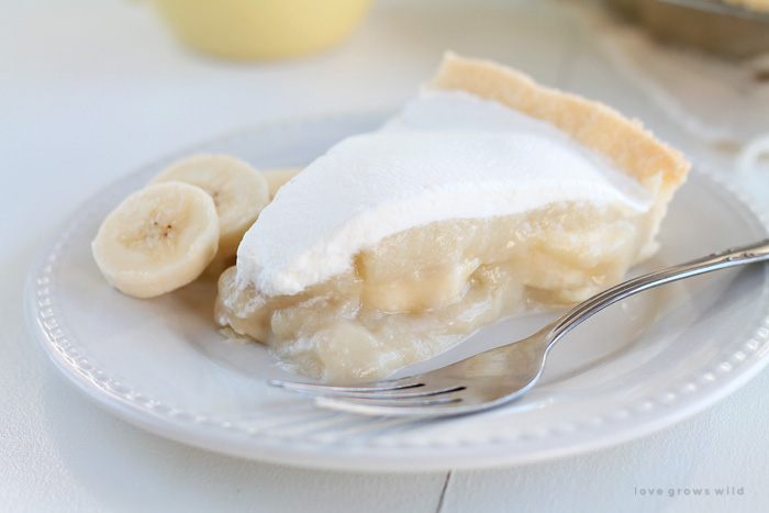 The perfect Banana Cream Pie made from scratch with a light, luscious filling and directions for prepping ahead!   LoveGrowsWild.com