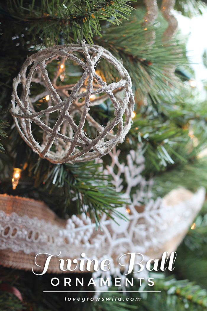 these handmade twine ball ornaments are perfect for adding a little rustic charm to your tree - Burlap Christmas Decorations For Sale